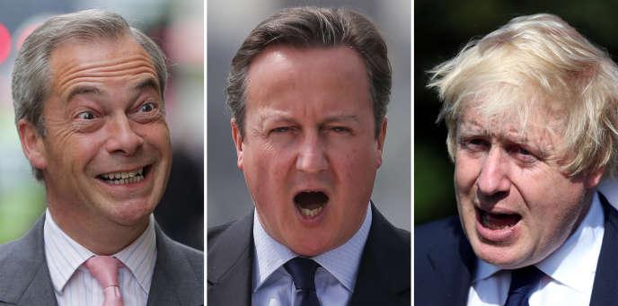 Nigel Farage, David Cameron et Boris Johnson.