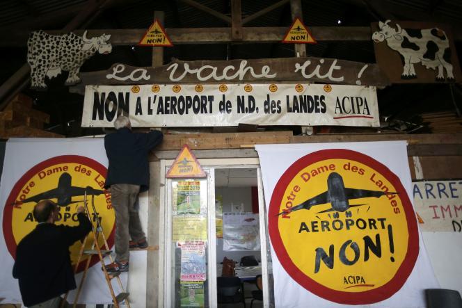A La Vache rit, quartier général des opposants au projet d'aéroport de Notre-Dame-des-Landes (en novembre 2015).
