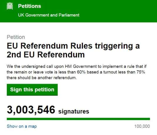 3 millions de personnes demandent qu'un nouveau vote soit organisé au Royaume-Uni sur le « Brexit ».