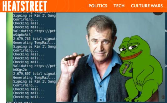 Exemple de script donné par Heatstreet concernant le« piratage» de la pétition.