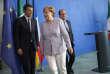 Matteo Renzi, Angela Merkel et François Hollande se réunissent à la chancellerie fédérale à Berlin après l'annonce du départ du Royaume-Uni de l'Union européenne, lundi 27 juin 2016.