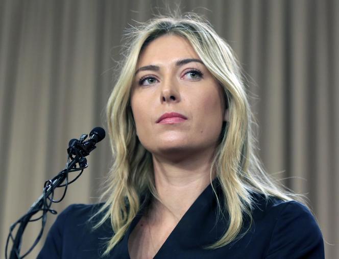 Maria Sharapova lors de sa conférence de presse au mois de mars, annonçant son contrôle positif au meldonium.