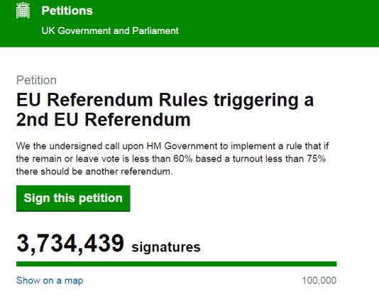 Capture d'écran du compteur de la pétition, lundi 27 juin.