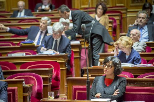 Myriam El Khomri au Sénat, pendant l'examen de la loi travail, le 13 juin