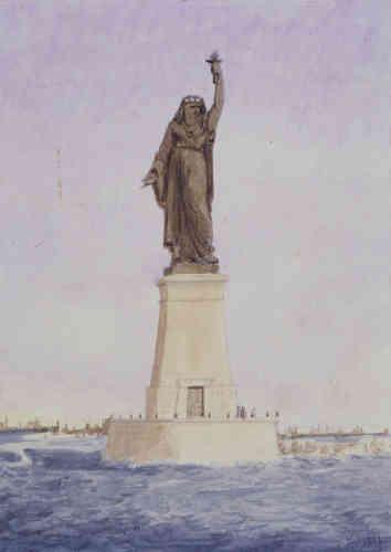Ce projet de statue-phare était destiné à être édifié à l'entrée du canal de Suez, en Egypte. Coiffée d'un voile, la tête porte un diadème qui deviendra celui de la statue de la Liberté.