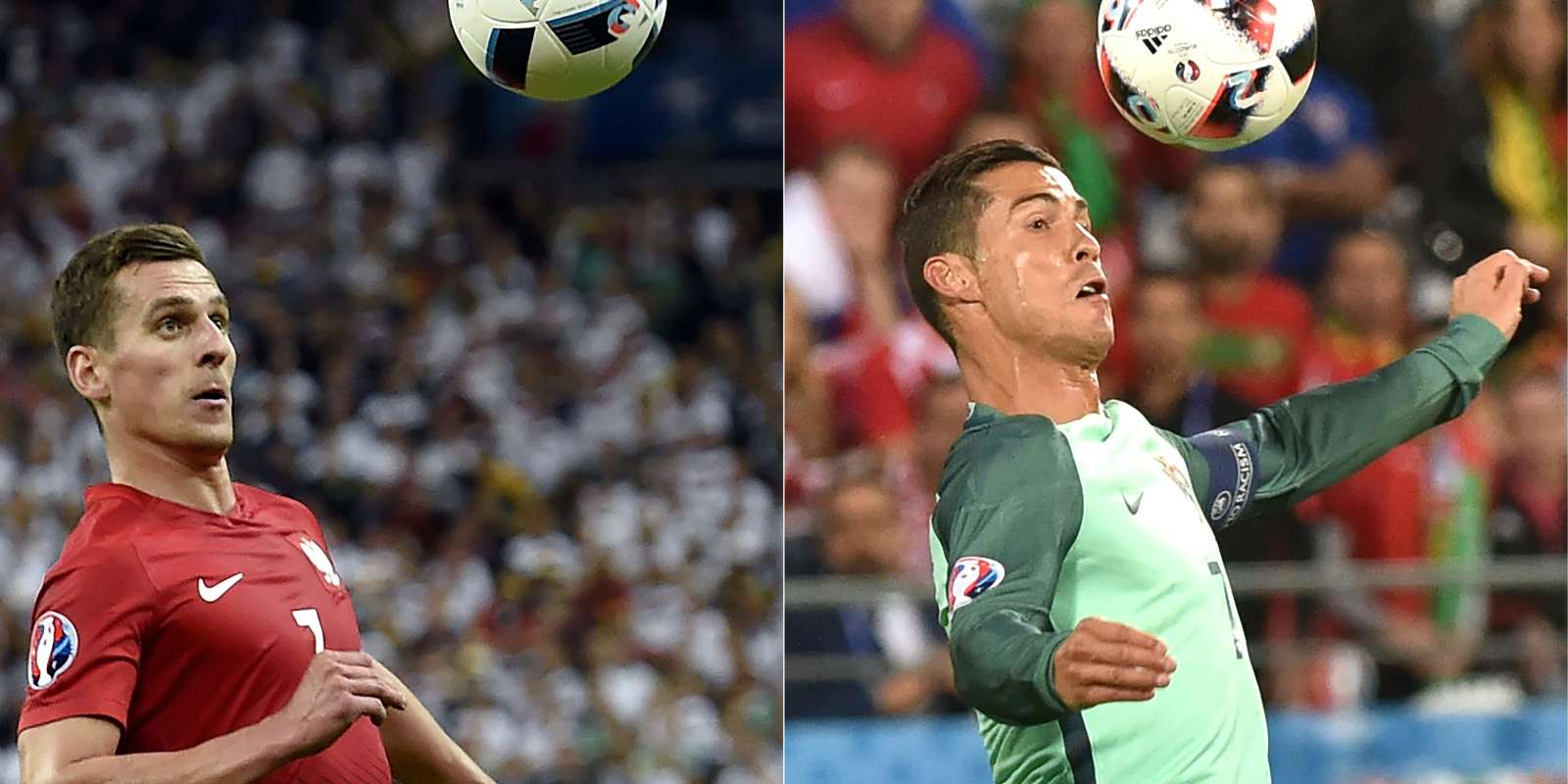 Arkadiusz Milik et Cristiano Ronaldo s'affrontent en quarts de finale jeudi soir.