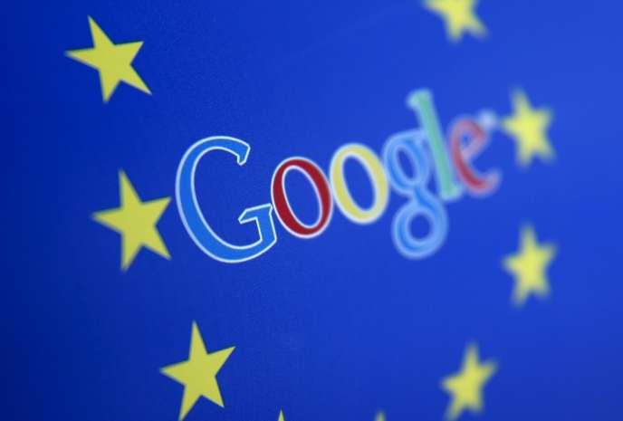 Le logo de Google et le drapeau de l'Union européenne.