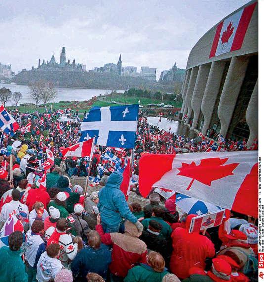 Manifestation pour l'unité du Canada, le 29 octobre 1995, à Québec.