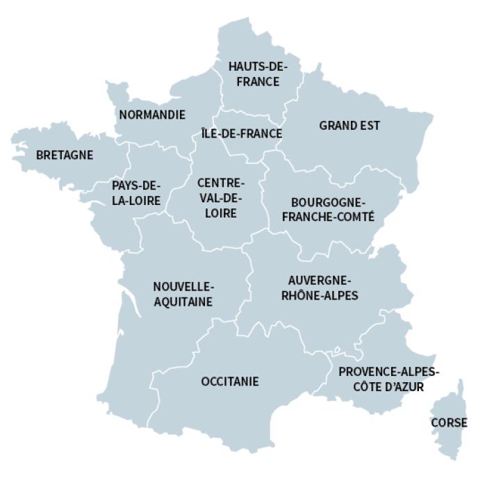Carte des treize nouvelles régions.