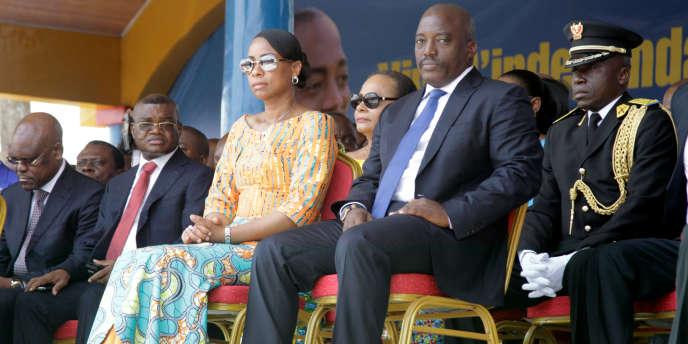 Le président congolais Joseph Kabila et son épouse le 30 juin 2016 à Kindu, lors des célébrations de l'indépendance du pays.