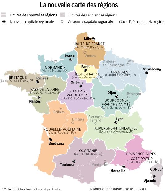 La nouvelle carte des régions.