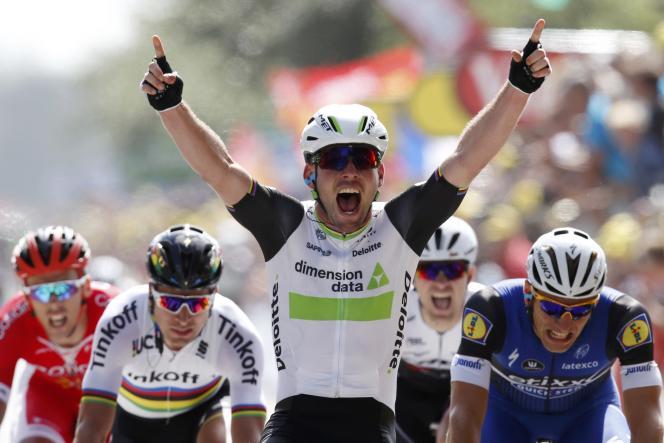 Mark Cavendish remporte la première étape du Tour de France, le 2juillet.
