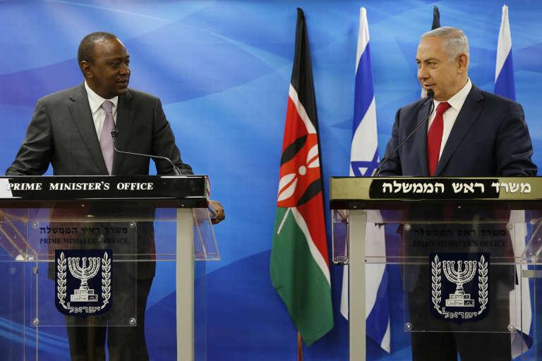 Le premier ministre israélien Benyamin Nétanyahou lors de la visite du président kényan, Uhuru Kenyatta, à Tel-Aviv, le 23 février 2016.