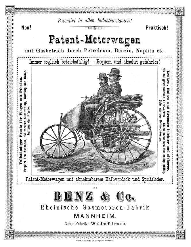 UNe publicité en allemand pour la voiture à moteur.