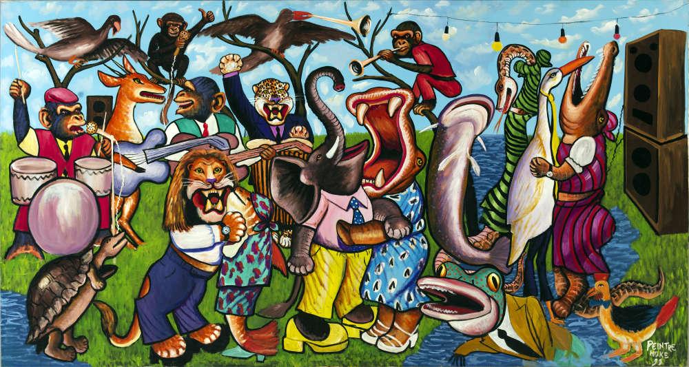 «Souvent décrit comme le « peintre reporter de l'urbanité » au cœur de Kinshasa où il exerça, le peintre congolais Moke (1950-2001) n'en oublia pas pour autant l'atmosphère du village dans lequel il avait grandi, entouré d'animaux qu'il peignait de façon allégorique dans des postures anthropomorphes ».