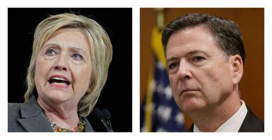 Hillary Clinton et le directeur du FBI, James Comey.