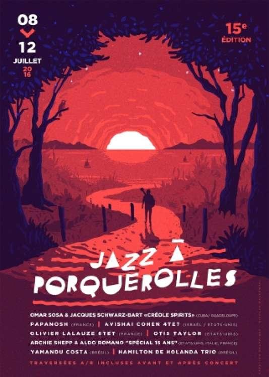 Affiche de la 15e édition du festival Jazz à Porquerolles.