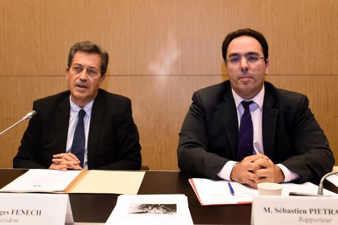 Le président de la commission d'enquête parlementaire Georges Fenech et son rapporteur Sébastien Pietrasanta à Paris le 5 juillet.
