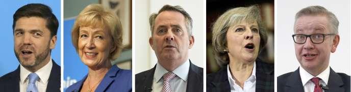 Les cinq candidats à la succession de David Cameron : Stephen Crabb, Andrea Leadsom, Liam Fox, Theresa May et Michael Gove.