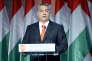 Le premier ministre hongrois, Viktor Orban, s'exprime à la tribune après sa réélection à la tête de la Fidesz-Union civique hongroise (droite), le 13 décembre 2015.