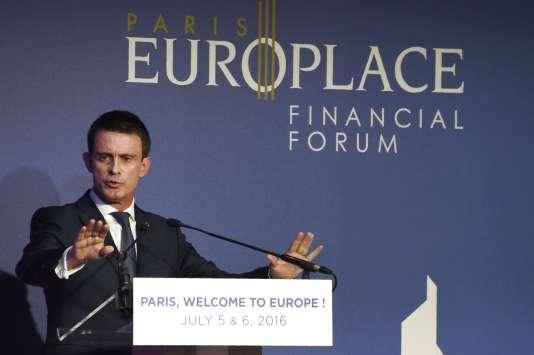 Le premier ministre, Manuel Valls, au forumParis Europlace, le 6 juillet 2016.