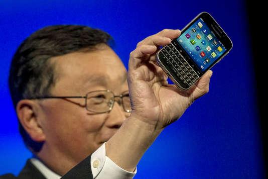 John Chen, directeur général du groupe canadien, présentait le nouveau BlackBerry Classic, en 2014.