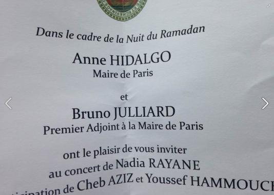 Invitation envoyée pour la nuit du ramadan par la mairie de Paris.