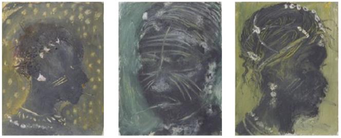 Trois œuvres « maliennes» de Miquel Barcelo. De gauche à droite«Fala muso 2» (1991, technique mixte sur toile), «Tchii 2» (1991, technique mixte sur toile), «Tchii 7» (1991, technique mixte sur toile).