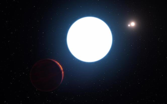 Impression d'artiste d'un système solaire abritant l'exoplanète HD131399AB.