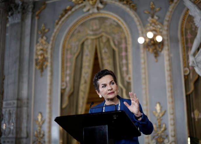 Christiana Figueres lors de l'annonce de sa candidature au poste de secrétaire général des Nations unies, le 7 juillet à San José, au Costa Rica.