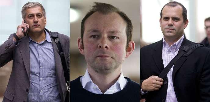 Jay Merchant, Jonathan Matthew et Alex Pabon quittent le tribunal de Londres le 6 avril 2016.