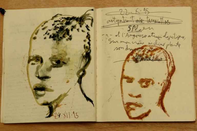 Une page issue des centaines de carnets d'artiste de Miquel Barcelo (carnet n° 4, page 4, 1995).