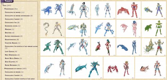 Sur Pharaon Website, un site de fan arts sur les Chevaliers du Zodiaque, les artistes amateurs s'en donnent à cœur joie.