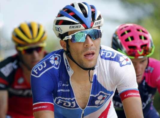 Thibaut Pinot lors de la septième étape entre L'Isle-Jourdain (Gers) et le lac de Payolle (Hautes-Pyrénées), vendredi 8 juillet.