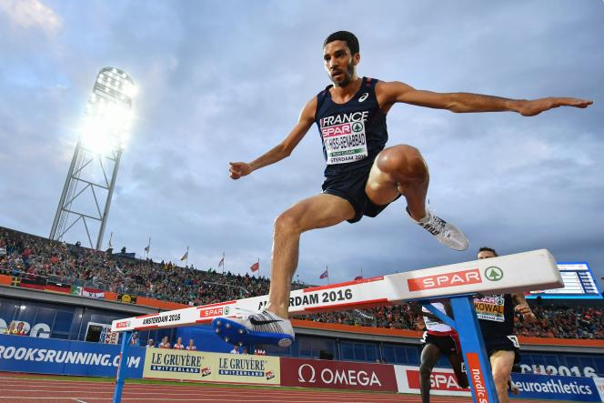 Mahiedine Mekhissi-Benabbad, le 8 juillet, lors des championnats d'Europe d'athlétisme, à Amsterdam.