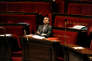 Emmanuel Macron pendant une suspension de séance à l'Assemblée nationale.