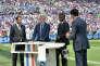 Les consultants Robert Pirès, Arsene Wenger, Marcel Desailly et le présentateur Alexandre Ruizde BeIN sports, à Lyon le 26 juin.