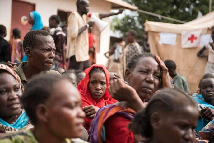 Des déplacés dans un camp de Wau, au Soudan du Sud, le 1er juillet. CHARLES LOMODONG/AFP