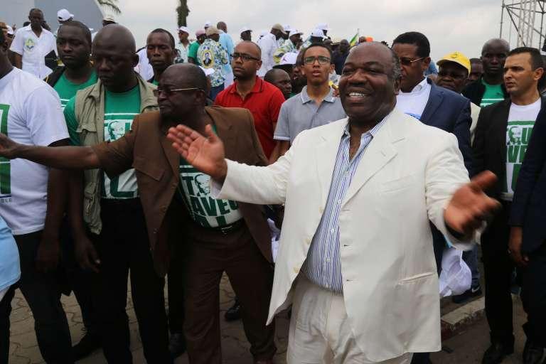 Le président gabonais Ali Bongo, le 9 juillet 2016, à Libreville après l'annonce de sa candidature à la présidentielle à un tour du 27 août.