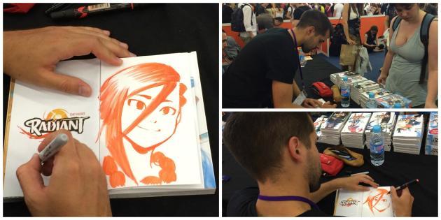 L'auteur du manga« Radiant», Tony Valente en séance de dédicace à Japan expo.