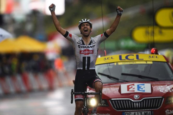 Tom Dumoulin lors de sa victoire sur la neuvième étape du Tour de France2016, àAndorre.
