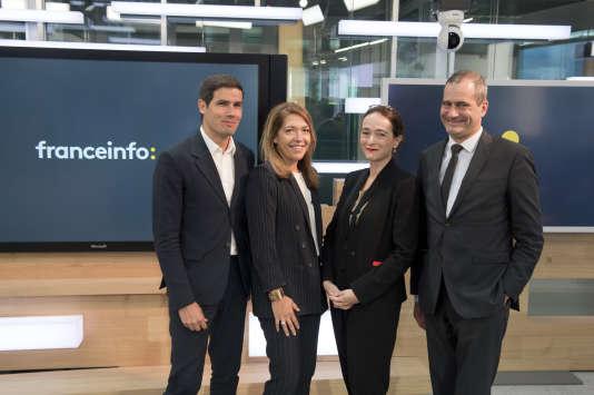 Mathieu Gallet (président de Radio France), Marie-Christine Saragosse (présidente de France Médias Monde) , Dephine Ernotte (présidente de France Télévisions) et Laurent Vallet (président de l'Institut national de l'audiovisuel) à Paris, le 11 juillet.