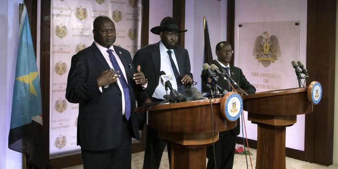 Le vice-président Riek Machar et le président sud-soudanais Salva Kiir au palais présidentiel, le 8 juillet 2016.