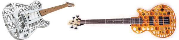 Guitares des fabricants anglais Customuse (gauche) et du suédois Odd (droite).