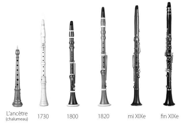 L'évolution des clarinettes.Collections du Musée de la musique, Philharmonie de Paris.