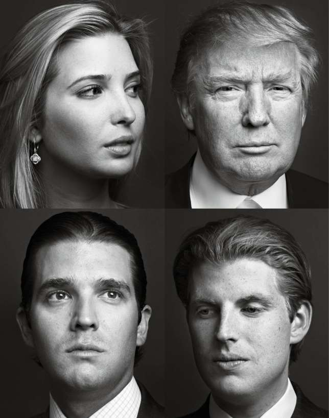 De gauche à droiteet de haut en bas : Ivanka, Donald, Donald Jr. et Eric.