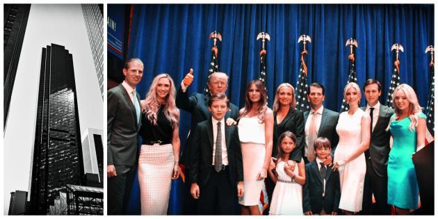 C'est entouré de son clan quele magnat de l'immobiliera annoncé, le 15 juin 2015, sa candidature aux primaires républicaines, dansla Trump Tower (à gauche), leQG new-yorkais de son empire.