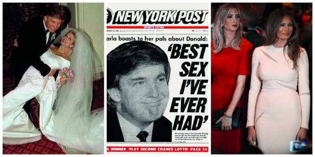En 1993, Donald Trump épouse sa maîtresse, Marla Marles (à gauche). Quelques années auparavant, celle-ci avait déclaré au «New York Post », alors que le milliardaire n'était pas encore séparé d'Ivana, qu'il était «la meilleureexpérience sexuelle de [sa] vie». Leur union dure sept ans. En 2005, Donald Trump se marie avec Melania (à droite,le 19 avril 2016, lorsd'un meeting à Manhattan, avec Ivanka).
