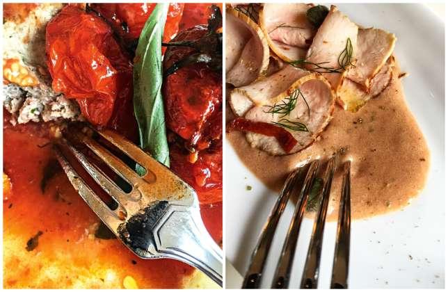 Tomates farcies (à droite) et« vitello tonnato, chez Loulou.