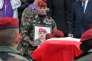La remise posthume de la Légion d'honneur à Abdel Chennouf,caporal-chef au 17e régiment du génie parachutiste de Montauban et victime de Mohamed Merah, le 15 mars 2013.